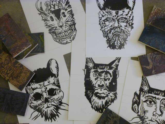 Atelier gravure impression « Bas les Masques »